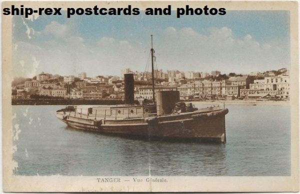 unidentified merchant vessel, at Tangier, postcard